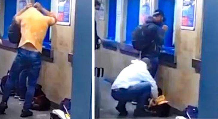 Vê um cachorro de rua trêmulo e com frio no metrô: ele tira a camiseta e a coloca no bichinho para aquecê-lo