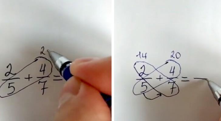 Il metodo a farfalla per sommare o sottrarre due frazioni senza calcolare il minimo comune multiplo