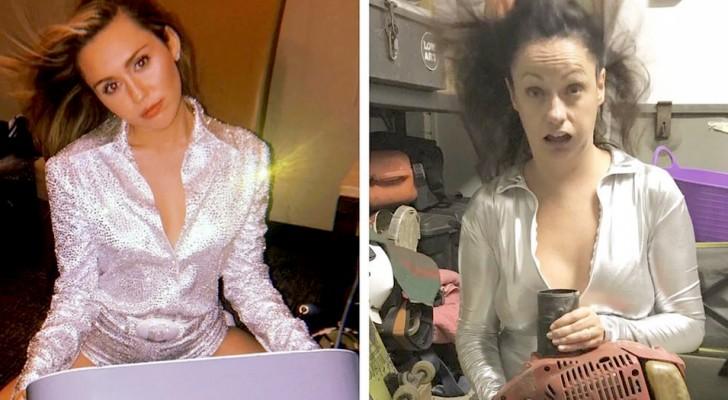 Cette fille recrée des photos de mannequins dans les positions les plus absurdes avec une touche d'auto-ironie