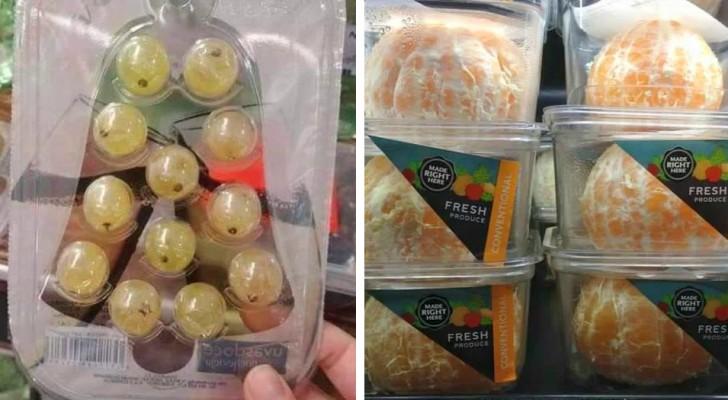 16 cibi proposti in un packaging in plastica inutile e dannoso per l'ambiente