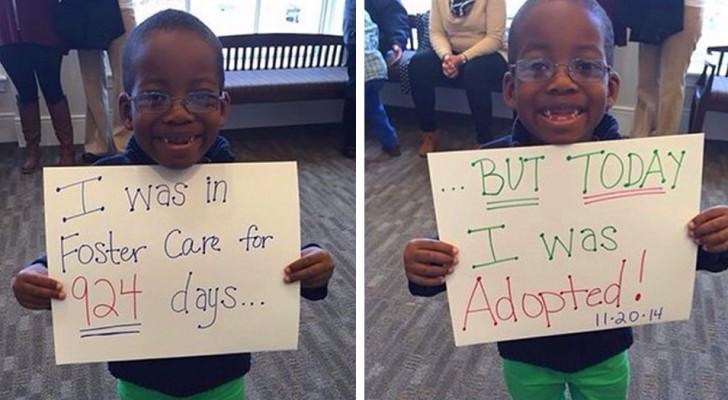 20 foto gioiose di bambini orfani che annunciano di essere stati finalmente adottati