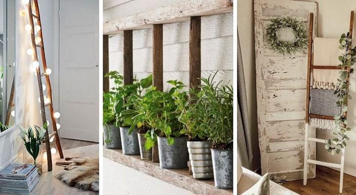 10 idee una più bella dell'altra per decorare gli interni riciclando le scale a pioli