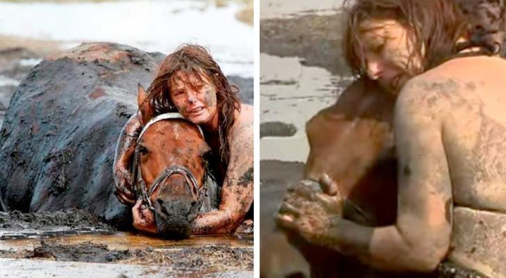Elle reste aux côtés de son cheval enlisé dans la boue pendant plus de trois heures : maîtresse et animal sauvés par miracle
