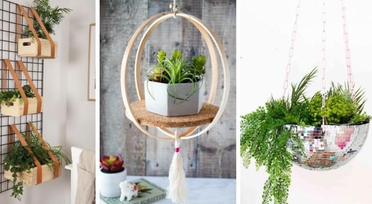 11 idées adorables pour décorer avec des pots de plantes suspendus et amener un peu de vert dans la maison