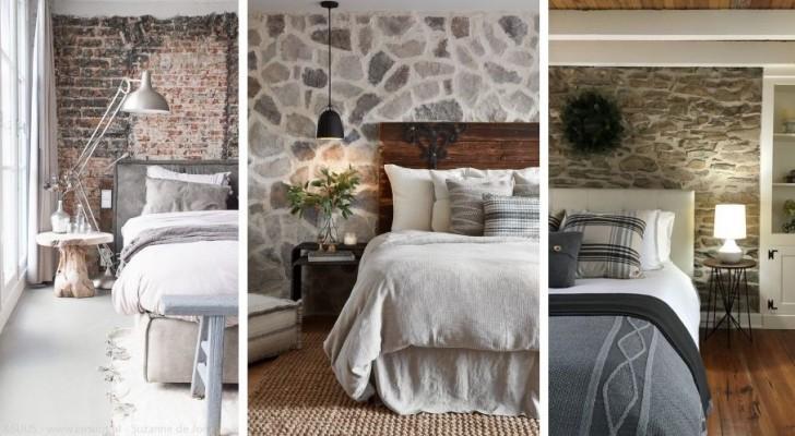 Pareti di pietra in camera da letto: 10 proposte a cui ispirarsi per arredare con stile