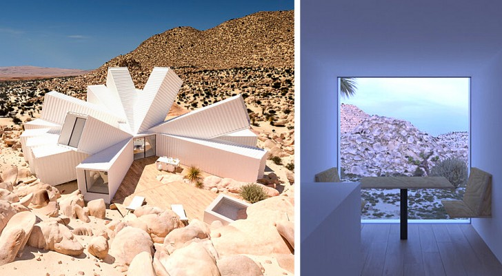 Un uomo progetta un'enorme casa fatta di container in mezzo al deserto: la sua forma ricorda quella di un fiore