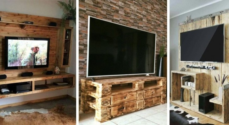 Mobili TV con i pallet: 10 ingegnose soluzioni fai-da-te per realizzarli usando il legno di recupero