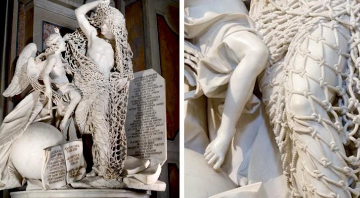 De details van dit 18e-eeuwse beeld zijn zo verfijnd dat het marmeren net bijna echt lijkt