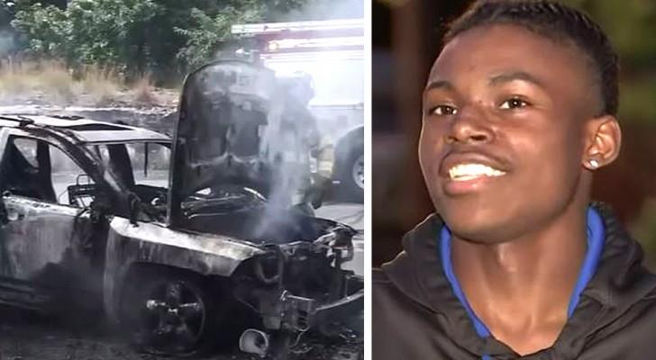 Este adolescente heróico salvou uma mãe e seus 3 filhos, puxando-os para fora de um carro em chamas