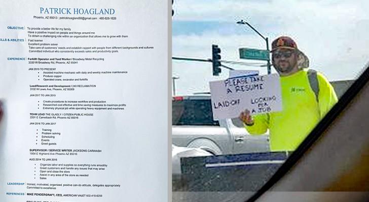 Un padre disoccupato cerca lavoro distribuendo il curriculum in strada: la sua strategia è vincente