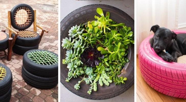 12 trovate geniali per riciclare vecchi pneumatici e trasformarli in mobili, decorazioni e oggetti utili
