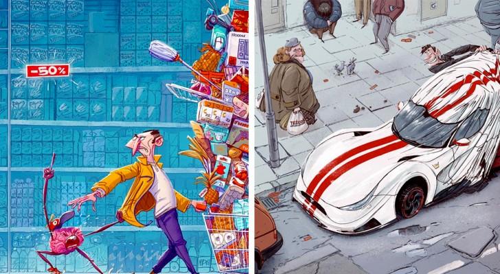 Un artista mostra tutta l'assurdità della nostra società contorta in disegni originali e colorati