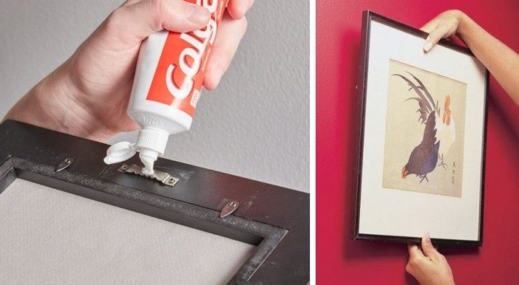 Il trucco semplice e inaspettato per appendere cornici sempre nel punto giusto utilizzando il dentifricio
