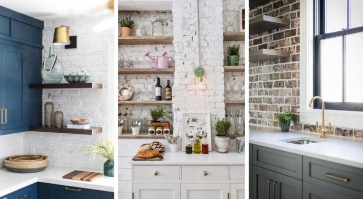 10 combinaisons irrésistibles pour embellir la cuisine avec des murs en briques blanches