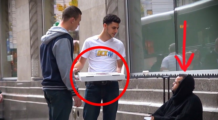 They give a homeless guy a pizza, what happens next is incredible !