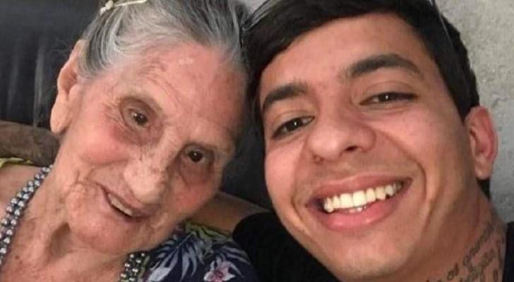 Een jongen redt een oude vrouw die tussen afval en ratten leefde