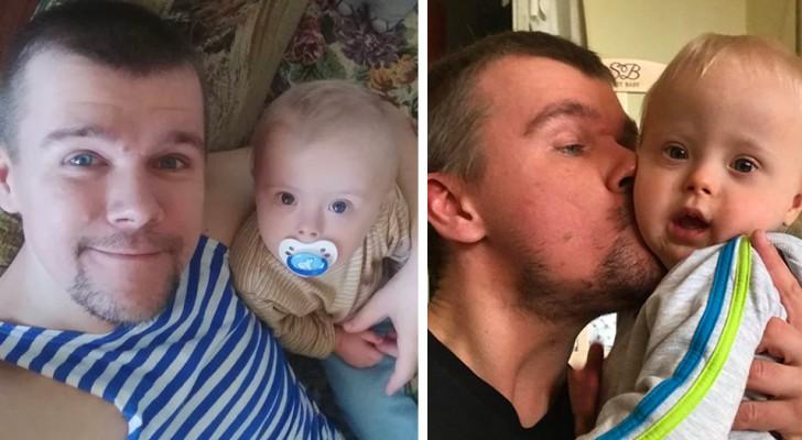Een vader voedt zijn zoon met het syndroom van Down alleen op nadat zijn moeder hen in de steek had gelaten
