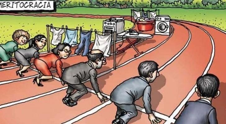 Questa vignetta mostra alla perfezione le sfide che le donne lavoratrici devono affrontare ogni giorno