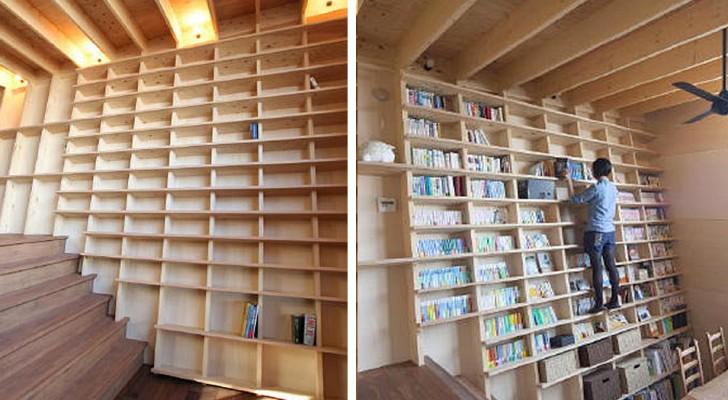 Cette bibliothèque sur laquelle on peut escalader est idéale pour avoir une maison remplie de livres du sol au plafond