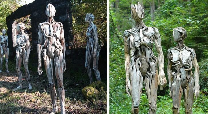 Le figure di legno create da questo artista giapponese sono affascinanti e inquietanti allo stesso tempo