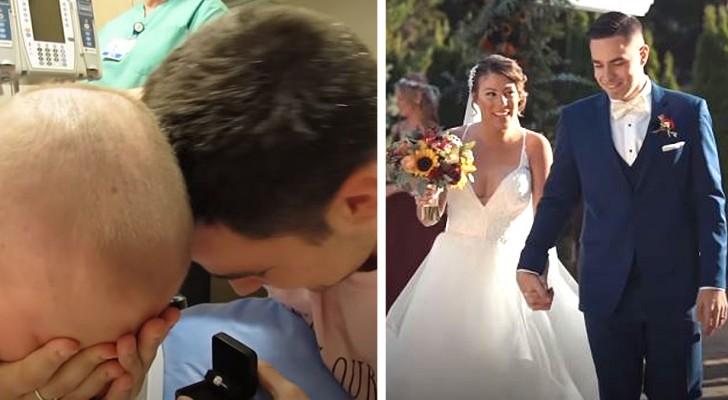 Sie überlebt den Krebs nach monatelangem Leiden: Ihr Freund macht ihr am letzten Tag der Chemo einen Heiratsantrag