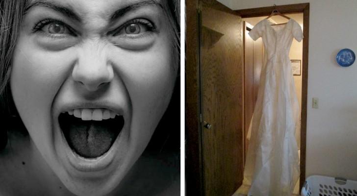 """Sie findet heraus, dass ihr Ehemann sie betrügt, und hinterlässt ihr Brautkleid an der Tür seiner Geliebten: """"Genieße die Waren aus zweiter Hand"""""""