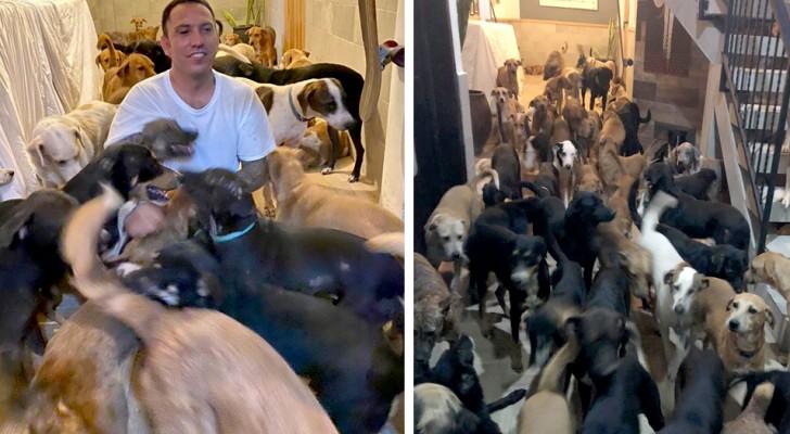 Ospita dentro casa oltre 300 cani per salvarli dalla furia di un uragano: sono tutti sani e salvi