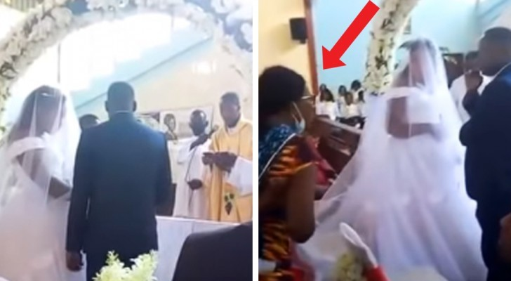 A woman catches her husband at the altar with another woman: the surreal scene shot by one of the guests