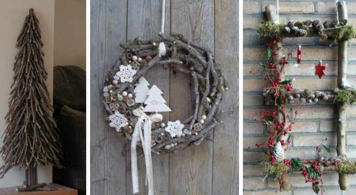10 proposte incantevoli per realizzare decorazioni natalizie riciclando rami e legnetti di varie dimensioni