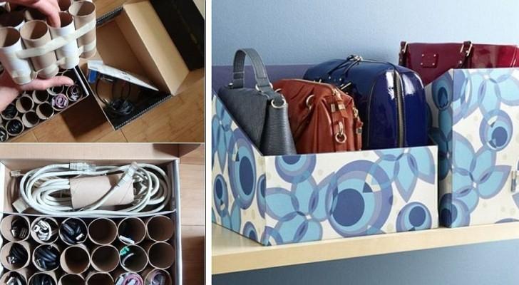 8 idées pratiques et ingénieuses pour faire de l'ordre à la maison en recyclant des boîtes en carton