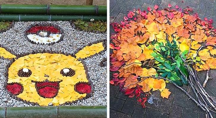 In Giappone le foglie cadute a terra diventano splendide opere d'arte per abbellire strade e marciapiedi