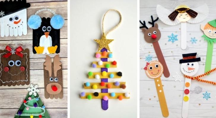 13 idées délicieuses pour des projets de Noël à réaliser avec les enfants en utilisant les bâtons de glaces