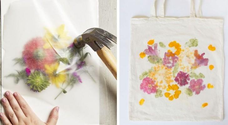 La semplice tecnica fai-da-te per stampare foglie e fiori su carta o tessuti