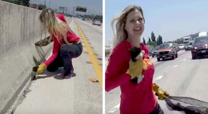 She stopped the freeway traffic to save a distressed kitty before it was too late