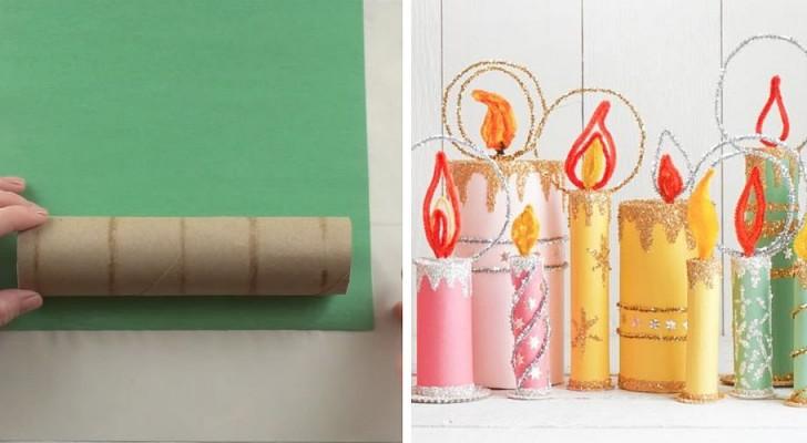 Come realizzare bellissime decorazioni a forma di candela usando dei semplici tubi di cartone