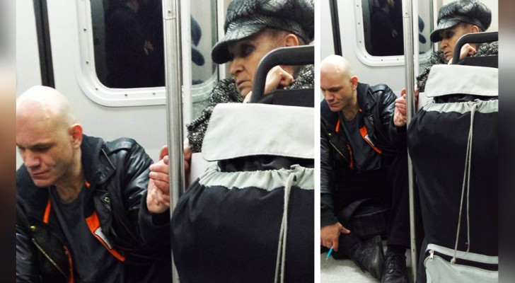 An aggressive man gets on the subway, pushing passengers out of the way: an old woman manages to calm him down with a simple gesture