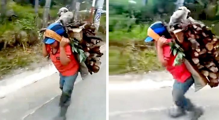 Uma criança pobre carrega quilos de lenha nas costas com seu fiel cachorrinho que nunca o deixa sozinho