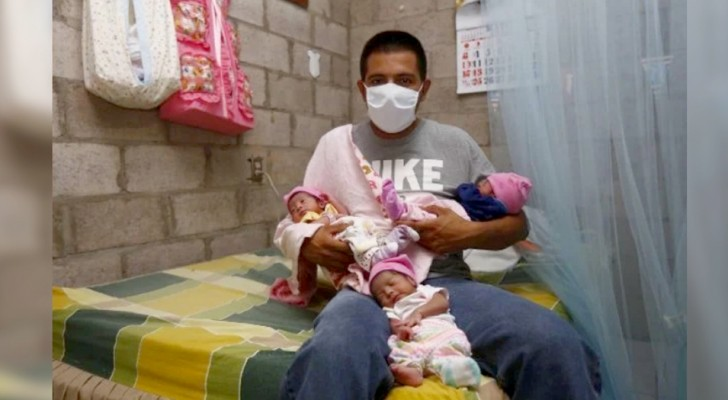 Zijn vrouw sterft kort na de bevalling en hij zorgt zelf voor de pasgeboren drieling