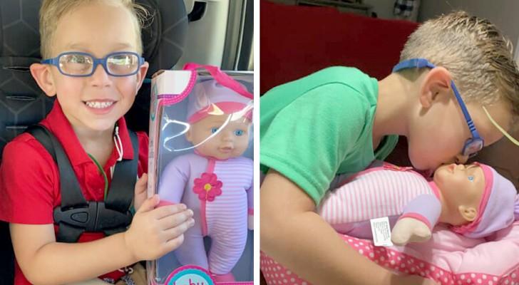 Een kind vraagt zijn moeder om een pop voor hem te kopen om voor te zorgen omdat hij een geweldige vader wil worden