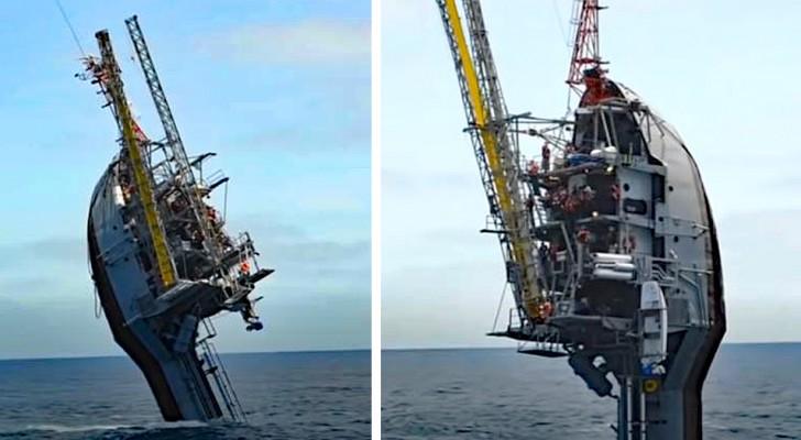 Dit bijzondere schip slaagt erin een verticale positie aan te nemen en in de oceaan te