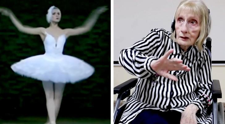 Een voormalige danseres met de ziekte van Alzheimer luistert naar de noten van