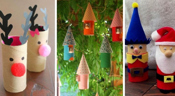 12 strepitosi lavoretti di Natale da realizzare con i tubi di cartone della carta igienica