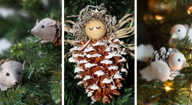 10 décorations de Noël fantastiques avec les pommes de pin qui amuseront aussi les enfants