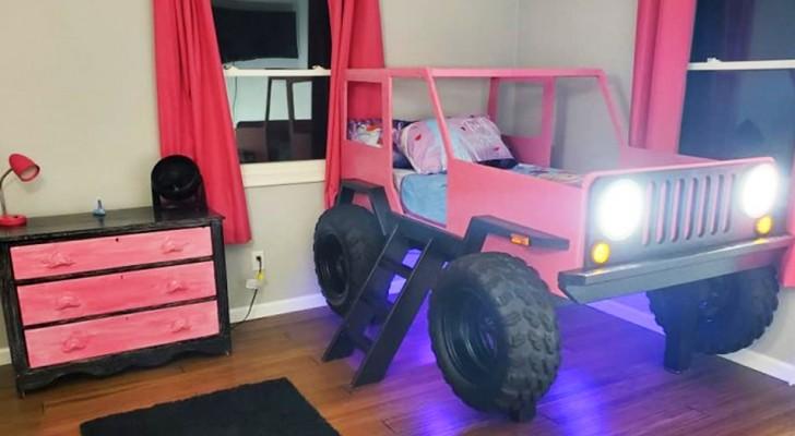 Ein Vater baut mit eigenen Händen ein bezauberndes Bett in Form eines Jeeps für sein Töchterchen