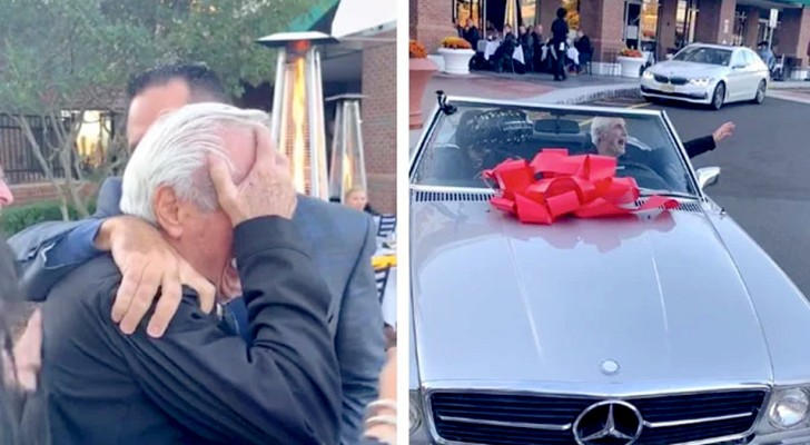 He turns 80 and as a gift he receives the car he had always dreamed of: he can't hold back the tears