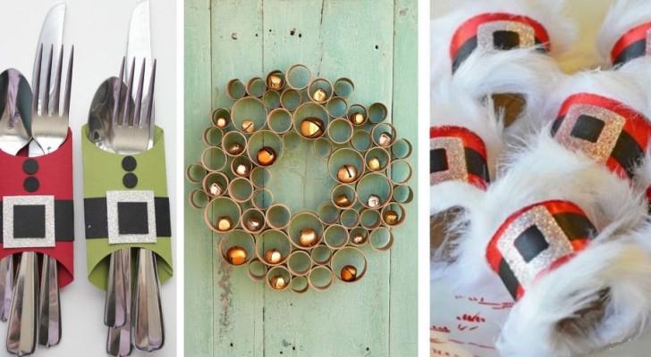 13 lavoretti originalissimi per trasformare i tubi di cartone della carta igienica in decorazioni di Natale