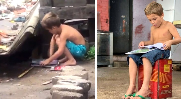 An impoverished 5 year old boy picks up some books from the trash to share them with his siblings