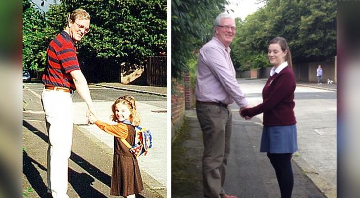Een hele trotse vader maakte dezelfde foto met zijn dochter op drie verschillende momenten in haar leven