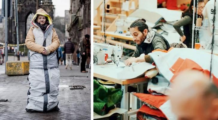 Un ragazzo realizza impermeabili che si trasformano in sacchi a pelo per riscaldare le notti dei senzatetto