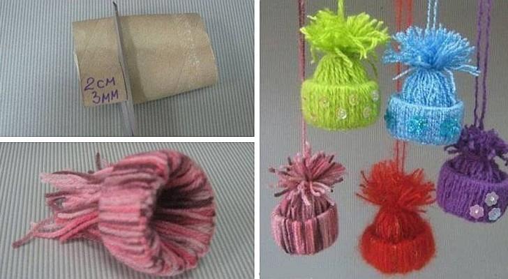 Il tutorial divertente per creare decorazioni a forma di berretto con scampoli di lana e rotoli di carta igienica